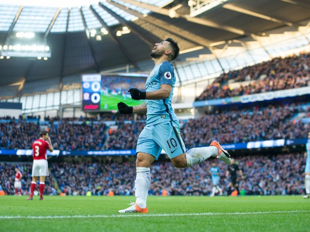 Manchester City's Sergio Aguero celebrates after scoring during the Premier League clash with Middlesbrough at the Etihad Stadium on November 5, 2016