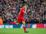 Liverpool midfielder Philippe Coutinho celebrates after scoring in his side's Premier League clash with Watford at Anfield on November 6, 2016