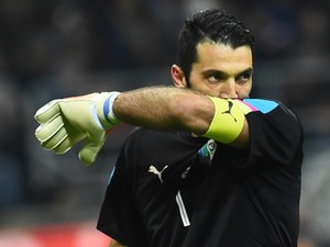 Italy goalkeeper Gianluigi Buffon in action for his side during the international friendly with Germany in Milan on November 15, 2016