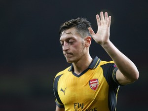 Arsenal playmaker Mesut Ozil in action during his side's Champions League clash with FC Basel at the Emirates Stadium on September 28, 2016
