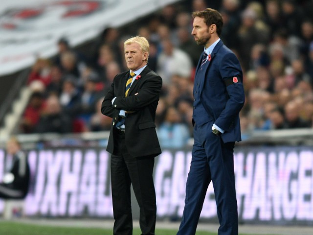 Interim England manager Gareth Southgate alongside Scotland counterpart Gordon Strachan during the World Cup qualifier at Wembley on November 11, 2016