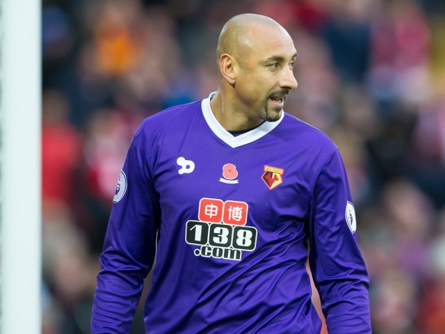 Watford goalkeeper Heurelho Gomes in action during his side's Premier League clash with Liverpool at Anfield on November 6, 2016