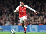 Alex Iwobi in action during the Champions League game between Arsenal and PSG on November 23, 2016