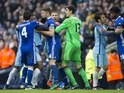 Players fight after Sergio Aguero is sent off during the Premier League game between Manchester City and Chelsea on December 3, 2016