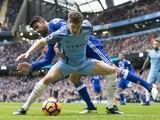 John Stones comes up against Diego Costa during the Premier League game between Manchester City and Chelsea on December 3, 2016