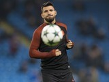 Sergio Aguero warms up ahead of the Champions League game between Manchester City and Celtic on December 6, 2016
