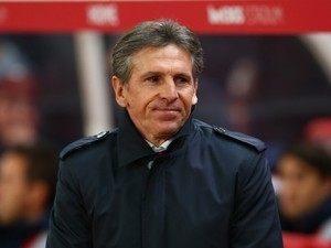 Claude Puel watches on during the Premier League game between Stoke City and Southampton on December 14, 2016