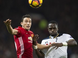 Matteo Darmian and Moussa Sissoko in action during the Premier League game between Manchester United and Tottenham Hotspur on December 11, 2016