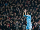 Stoke City striker Peter Crouch applauds the fans after being taken off during his side's Premier League clash with Liverpool at Anfield on December 27, 2016