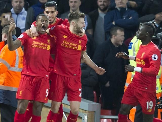 Georginio Wijnaldum celebrates scoring during the Premier League game between Liverpool and Manchester City on December 31, 2016