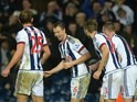 Jonny Evans celebrates during the game between West Brom and Stoke on January 2, 2016