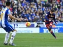 Lionel Messi takes a free kick during the game between Espanyol and Barcelona on January 2, 2016