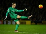 Joe Hart takes a kick during the game between Watford and Man City on January 2, 2016