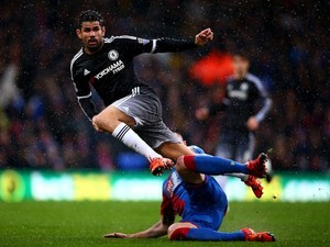 Diego Costa and Damien Delaney in action during the game between Crystal Palace and Chelsea on January 3, 2016