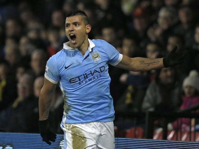 Sergio Aguero celebrates finding the winner during the game between Watford and Man City on January 2, 2016