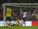 Callum Robinson scores the opener during the FA Cup game between Preston North End and Arsenal on January 7, 2017