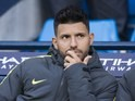 Sergio Aguero sits on the bench during the Premier League game between Manchester City and Burnley on January 2, 2017