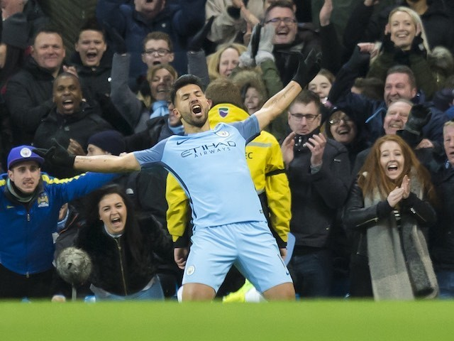 Sergio Aguero celebrates scoring during the Premier League game between Manchester City and Burnley on January 2, 2017