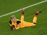 Loris Karius makes a save during the EFL Cup semi-final between Southampton and Liverpool on January 11, 2017