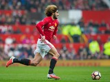 Manchester United speedster Marouane Fellaini in full flight during the FA Cup third round clash with Reading at Old Trafford on January 7, 2017
