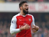 Olivier Giroud in action during the Premier League game between Arsenal and Burnley on January 22, 2017