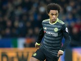 Chelsea winger Willian in action during his side's Premier League clash with Leicester City at the King Power Stadium on January 14, 2017