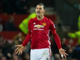 Manchester United striker Zlatan Ibrahimovic reacts after scoring during the Premier League clash with Liverpool at Old Trafford on January 15, 2017