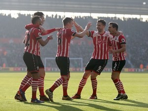 James Ward-Prowse celebrates scoring during the Premier League game between Southampton and Leicester City on January 22, 2017