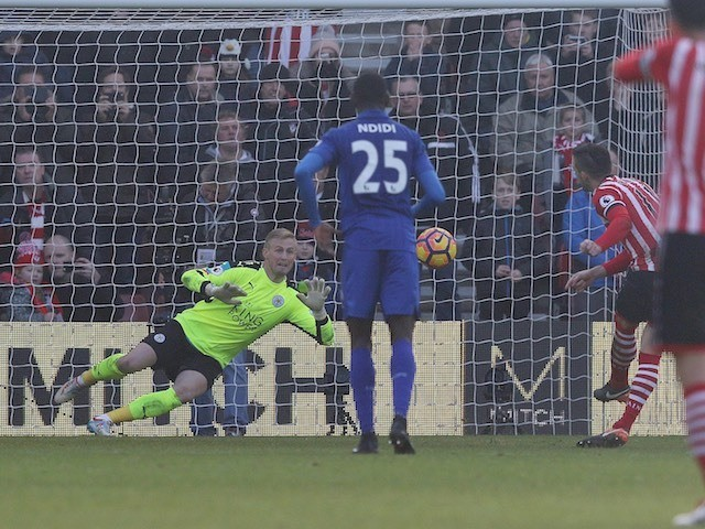 Dusan Tadic makes it three during the Premier League game between Southampton and Leicester City on January 22, 2017