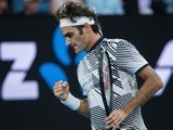 Roger Federer in action at the Australian Open on January 26, 2017