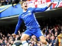 Marcos Alonso celebrates his opener during the Premier League game between Chelsea and Arsenal on February 4, 2017
