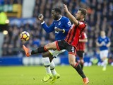 Romelu Lukaku and Steve Cook in action during the Premier League game between Everton and Bournemouth on February 4, 2017