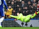 Thibaut Courtois pulls off a fingertip save during the Premier League game between Chelsea and Arsenal on February 4, 2017