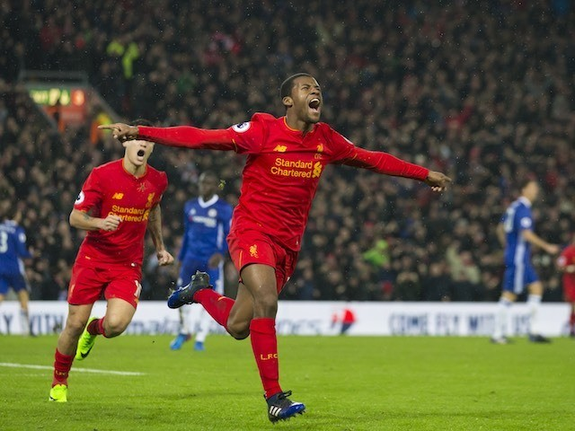 Georginio Wijnaldum celebrates getting the equaliser during the Premier League game between Liverpool and Chelsea on January 31, 2017
