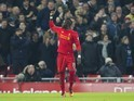 Sadio Mane celebrates scoring during the Premier League game between Liverpool and Tottenham Hotspur on February 11, 2017