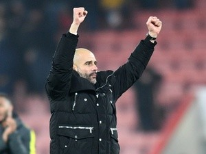 Manchester City manager Pep Guardiola at the final whistle of their 2-0 win over Bournemouth on February 13, 2017