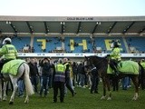 Millwall fans invade the pitch at the end of the FA Cup match against Leicester City on February 18, 2017