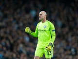 Manchester City goalkeeper Wilfredo 'Willy' Caballero in action during the Champions League last 16 first leg against AS Monaco at the Etihad Stadium on February 21, 2017