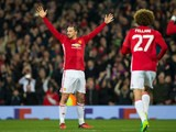 Manchester United striker Zlatan Ibrahimovic celebrates after scoring during his side's Europa League clash with Saint-Etienne at Old Trafford on February 16, 2017