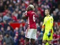 Paul Pogba reacts to a missed chance during the Premier League game between Manchester United and Bournemouth on March 4, 2017