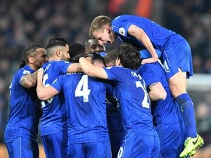 Danny Drinkwater celebrates scoring Leicester City's second goal against Liverpool on February 27, 2017