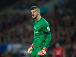 Southampton goalkeeper Fraser Forster in action during the EFL Cup final against Manchester United at Wembley on February 26, 2017