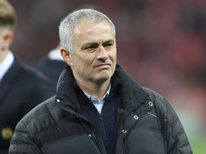 Manchester United manager Jose Mourinho watches on during his side's EFL Cup final with Southampton at Wembley on February 26, 2017