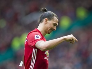 Zlatan Ibrahimovic has a point to make during the Premier League game between Manchester United and Bournemouth on March 4, 2017
