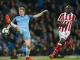 Manchester City's Kevin De Bruyne and Stoke City's Bruno Martins Indi on March 8, 2017