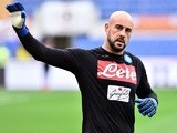 Napoli's Pepe Reina in the Serie A match against Roma on March 4, 2017