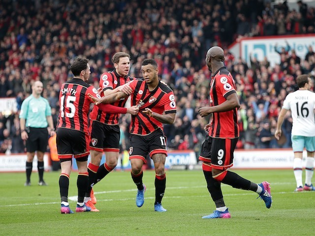Joshua King celebrates levelling the scores during the Premier League game between Bournemouth and West Ham United on March 11, 2017