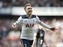 Christian Eriksen celebrates scoring during the Premier League game between Tottenham Hotspur and Southampton on March 19, 2017