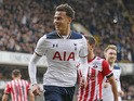 Dele Alli celebrates scoring during the Premier League game between Tottenham Hotspur and Southampton on March 19, 2017