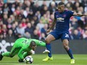 A slip-up from Victor Valdes allows Antonio Valencia to score during the Premier League game between Middlesbrough and Manchester United on March 19, 2017